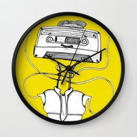 cassette Wall Clocks featuring Cassette by Molly Yllom Shop