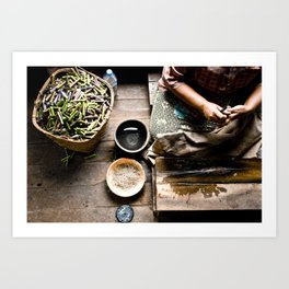 Loto workers in Inle Lake's Art Print
