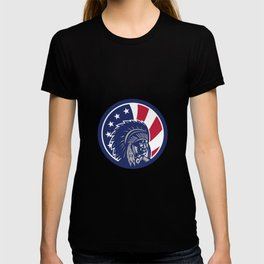 Native American Indian Chief USA Flag Icon T-shirt