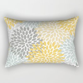 Floral Pattern, Yellow, Pale, Aqua, Blue and Gray Rectangular Pillow