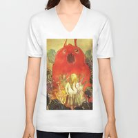 nightmare V-neck T-shirts featuring nightmare by Oscar Civit