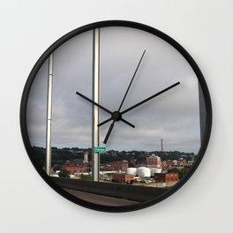 Dubuque From The Bridge Wall Clock