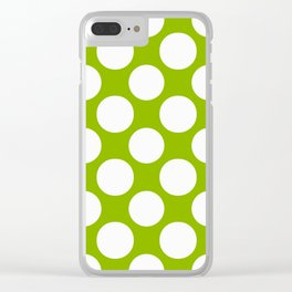 White & Apple Green Spring Polka Dot Pattern Clear iPhone Case