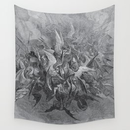Now storming fury rose, Paradise Lost, Gustave Dore, 1866 Wall Tapestry