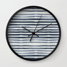 Simply Shibori Stripes Indigo Blue on Lunar Gray Wall Clock