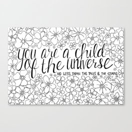 Child of the Universe - Black and White Canvas Print