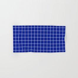 Indigo dye - blue color - White Lines Grid Pattern Hand & Bath Towel