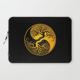 Yellow and Black Tree of Life Yin Yang Laptop Sleeve