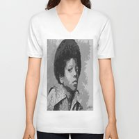 mike wrobel V-neck T-shirts featuring Little Mike by JeleataNicole