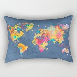 world map blue 2061 #map #worldmap Rectangular Pillow