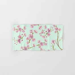 Spring Flowers - Mint and Pink Cherry Blossom Pattern Hand & Bath Towel