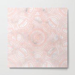 Marble Pink Ethnic Mandala Pattern Metal Print