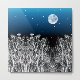 White Woods Moon Metal Print