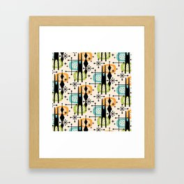 Retro Atomic Mid Century Pattern Orange Green and Turquoise Framed Art Print