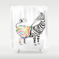 zebra Shower Curtains featuring Zebra by gunberk
