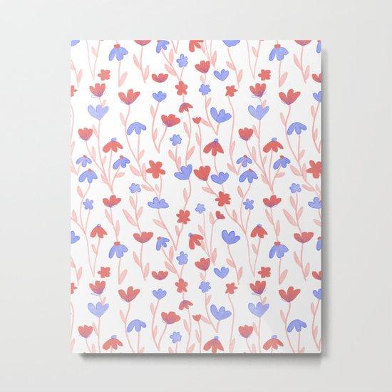 Red Blue Floral Pattern Metal Print