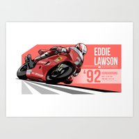 nan lawson Art Prints featuring Eddie Lawson 1992 Hungaroring by Evan DeCiren