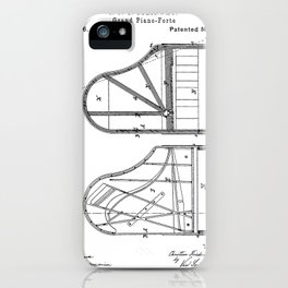 Steinway Grand Piano Patent - Piano Player Art - Black And White iPhone Case