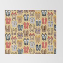 Hard choice // shoes on yellow background Throw Blanket