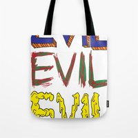 evil Tote Bags featuring Evil by Michael Interrante