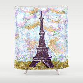 Eiffel Tower Pointillism by Kristie Hubler Shower Curtain