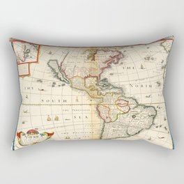 Map of North & South America by Thomas Bassett (1626) Rectangular Pillow