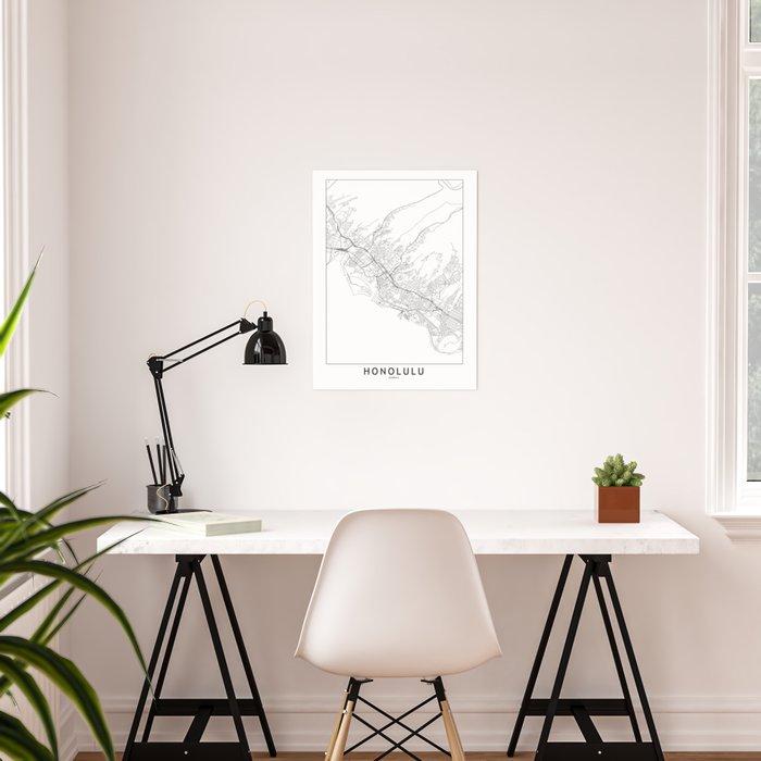 Honolulu White Map Poster