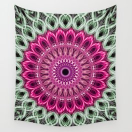 Pastel green mandala with pink flower Wall Tapestry