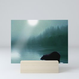 Stepping Into The Moonlight - Black Bear and Moonlit Lake Mini Art Print