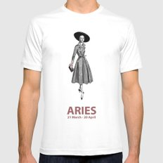 Aries White Mens Fitted Tee MEDIUM