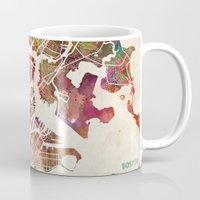 boston Mugs featuring Boston by MapMapMaps.Watercolors