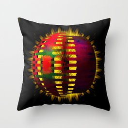 Red Layered Star in Golden Flames Throw Pillow