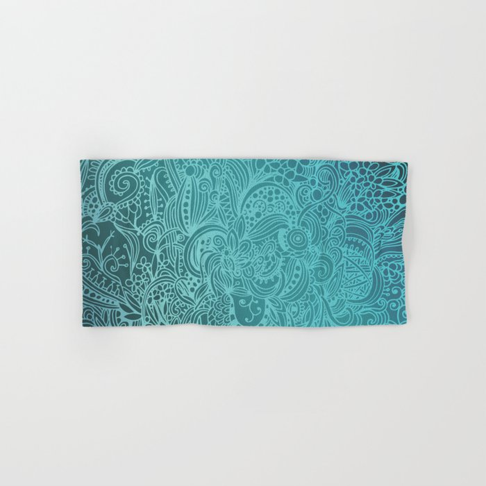 Detailed zentangle square, blue colorway Hand & Bath Towel