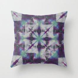 Fractal Tie Dye Purple Green Throw Pillow
