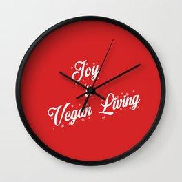 Joy to Vegan Living Red Background Wall Clock