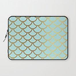 Aqua Teal And Gold Foil MermaidScales - Mermaid Scales Laptop Sleeve