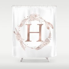 letter h rose gold pink initial monogram shower curtain