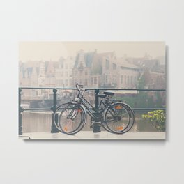 a bicycle date in Ghent Metal Print