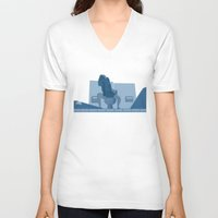lawyer V-neck T-shirts featuring Jurassic Park poster - feat. Donald Gennaro by Peter Cassidy