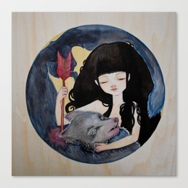 The First Seduction or Big Bad Wolf Having a Big Bad Day Canvas Print