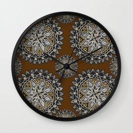 Fall Inspired Black, Brown, and Gold Mandala Textile Pattern Wall Clock