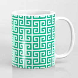 Jade and White Greek Key Pattern Coffee Mug