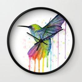 Hummingbird Rainbow Watercolor Wall Clock