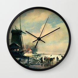 Winter scene in Holland, oil painting Wall Clock