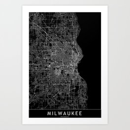 Milwaukee Black Map Art Print