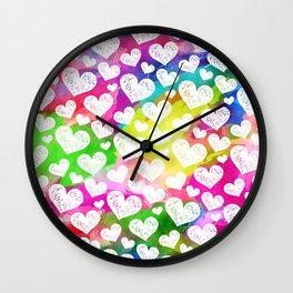 Rainbow Watercolor Hearts Wall Clock