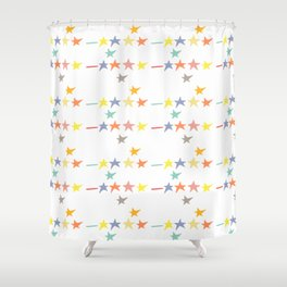 Multicolored doodle little falling stars and dashes on white pattern Shower Curtain