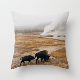 Mother Bison and Calf in Yellowstone National Park Throw Pillow