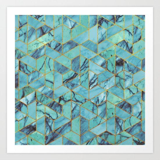 Blue Marble Hexagonal Pattern Art Print