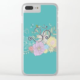 Bohemian Pastel Flower composition with  OM symbol Clear iPhone Case